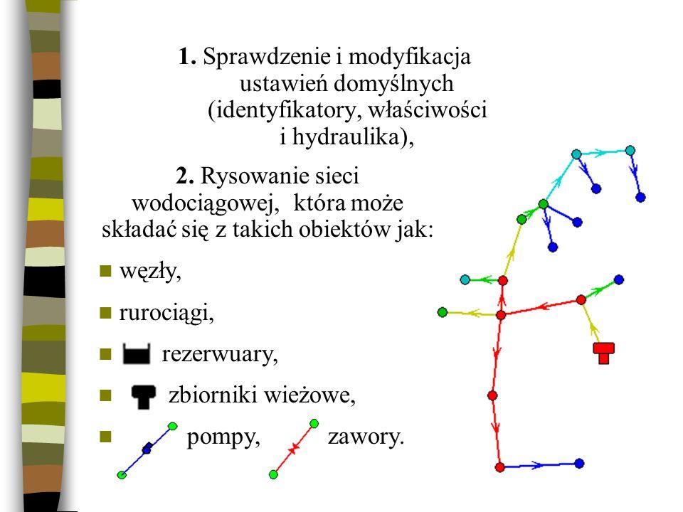 1. Sprawdzenie i modyfikacja ustawień domyślnych (identyfikatory, właściwości i hydraulika), 2. Rysowanie sieci wodociągowej, która może składać się z