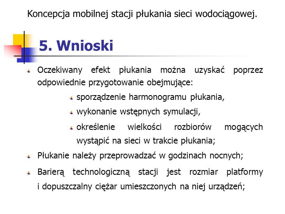 5. Wnioski Koncepcja mobilnej stacji płukania sieci wodociągowej. Oczekiwany efekt płukania można uzyskać poprzez odpowiednie przygotowanie obejmujące