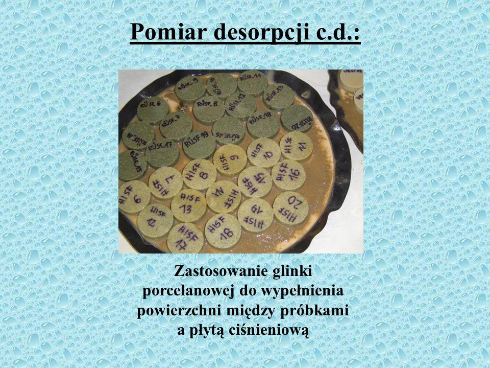 Pomiar desorpcji c.d.: Ciśnieniowe płytki ceramiczne Nawilżanie próbek