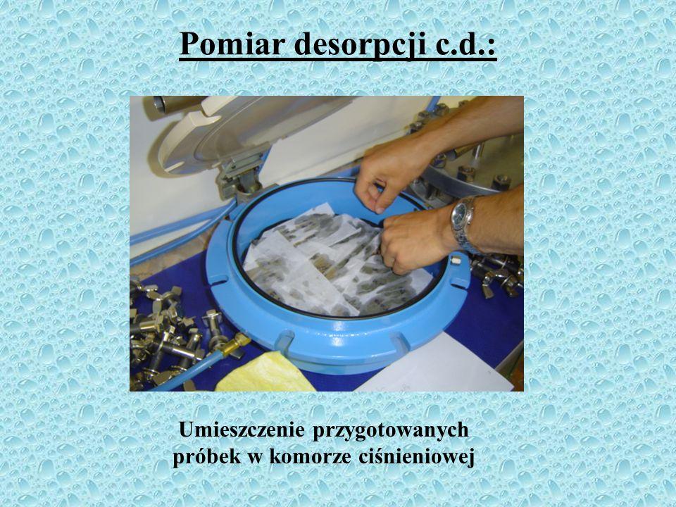 Pomiar desorpcji c.d.: Zastosowanie glinki porcelanowej do wypełnienia powierzchni między próbkami a płytą ciśnieniową