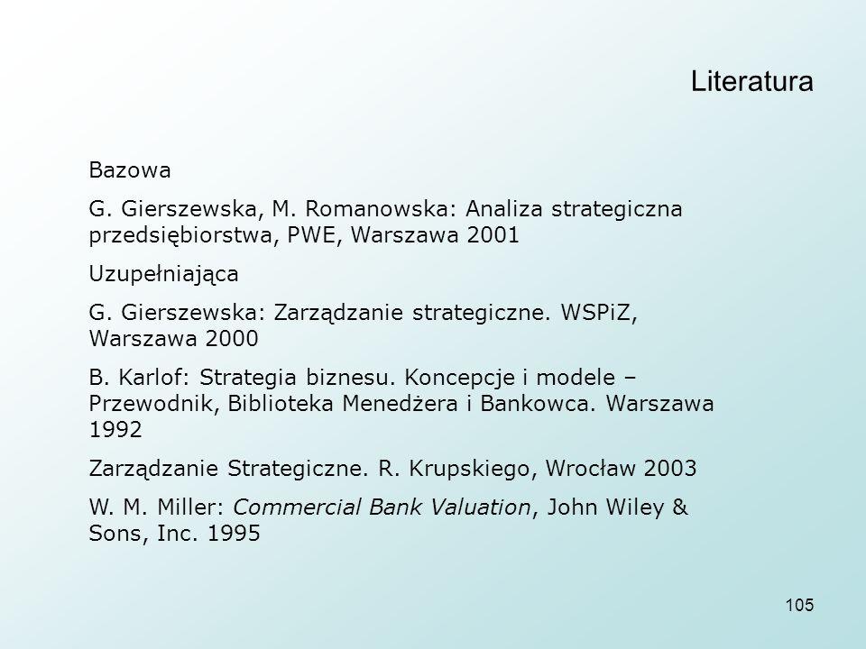 105 Literatura Bazowa G. Gierszewska, M. Romanowska: Analiza strategiczna przedsiębiorstwa, PWE, Warszawa 2001 Uzupełniająca G. Gierszewska: Zarządzan