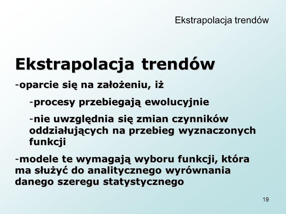 19 Ekstrapolacja trendów -oparcie się na założeniu, iż -procesy przebiegają ewolucyjnie -nie uwzględnia się zmian czynników oddziałujących na przebieg