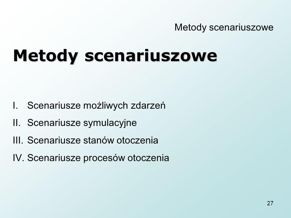 27 Metody scenariuszowe I.Scenariusze możliwych zdarzeń II.Scenariusze symulacyjne III.Scenariusze stanów otoczenia IV.Scenariusze procesów otoczenia