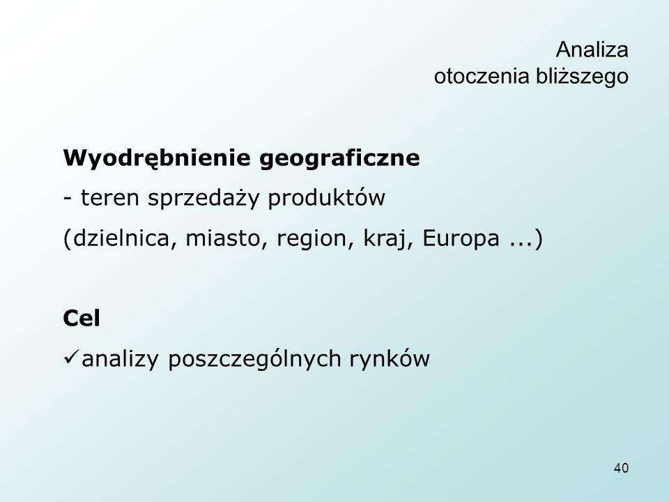 40 Analiza otoczenia bliższego Wyodrębnienie geograficzne - teren sprzedaży produktów (dzielnica, miasto, region, kraj, Europa...) Cel analizy poszczególnych rynków
