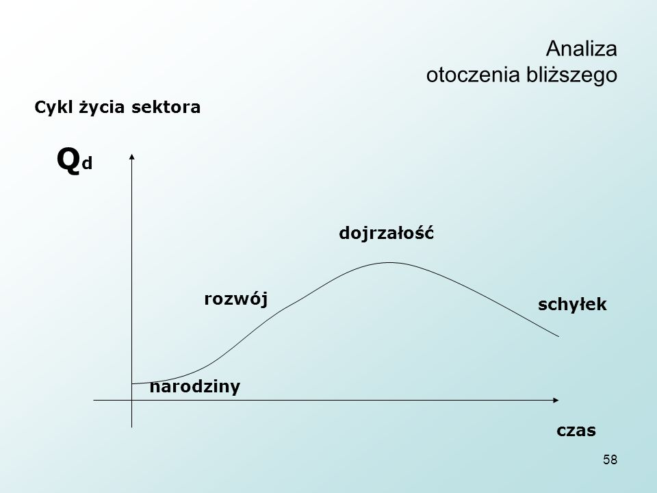 58 Analiza otoczenia bliższego Cykl życia sektora QdQd czas rozwój dojrzałość schyłek narodziny