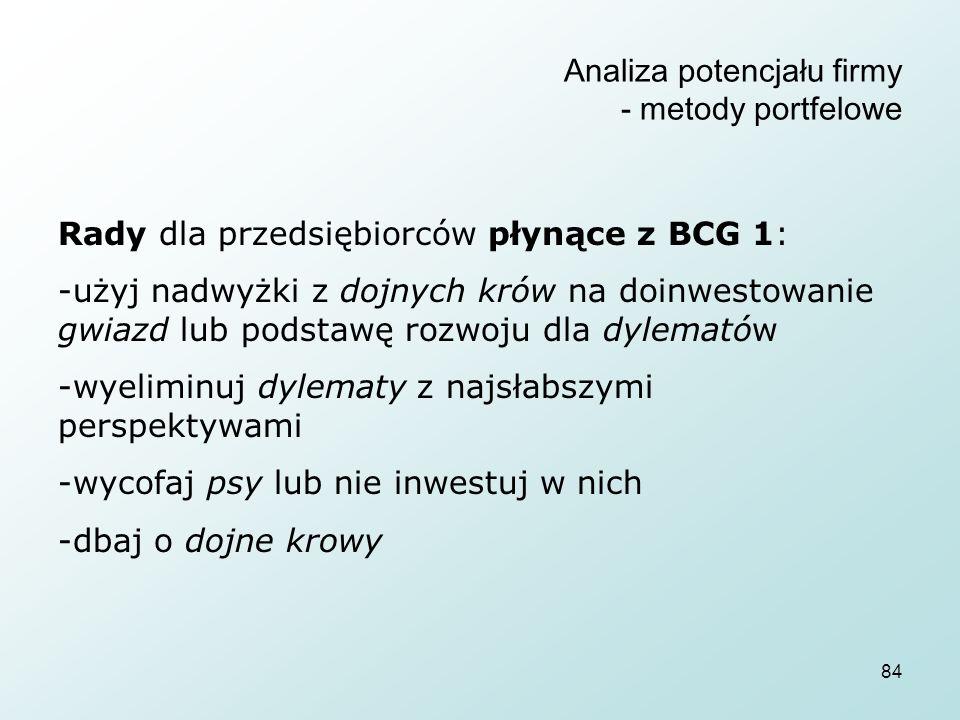 84 Analiza potencjału firmy - metody portfelowe Rady dla przedsiębiorców płynące z BCG 1: -użyj nadwyżki z dojnych krów na doinwestowanie gwiazd lub podstawę rozwoju dla dylematów -wyeliminuj dylematy z najsłabszymi perspektywami -wycofaj psy lub nie inwestuj w nich -dbaj o dojne krowy