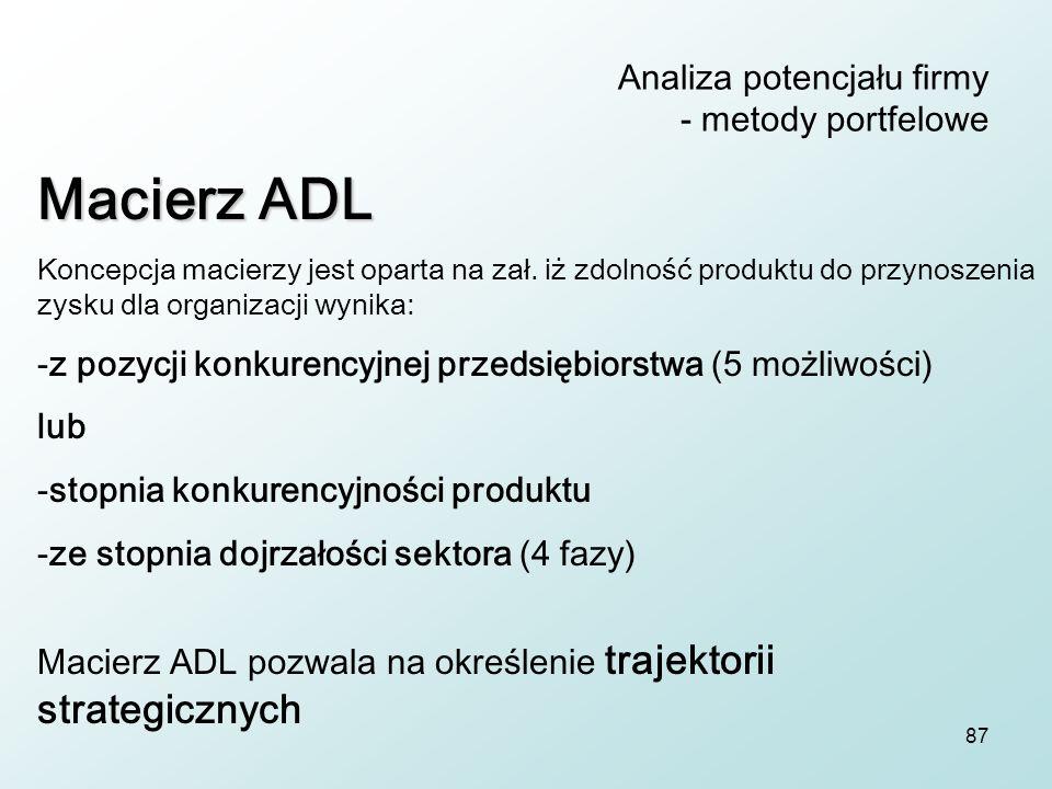 87 Analiza potencjału firmy - metody portfelowe Macierz ADL Koncepcja macierzy jest oparta na zał. iż zdolność produktu do przynoszenia zysku dla orga