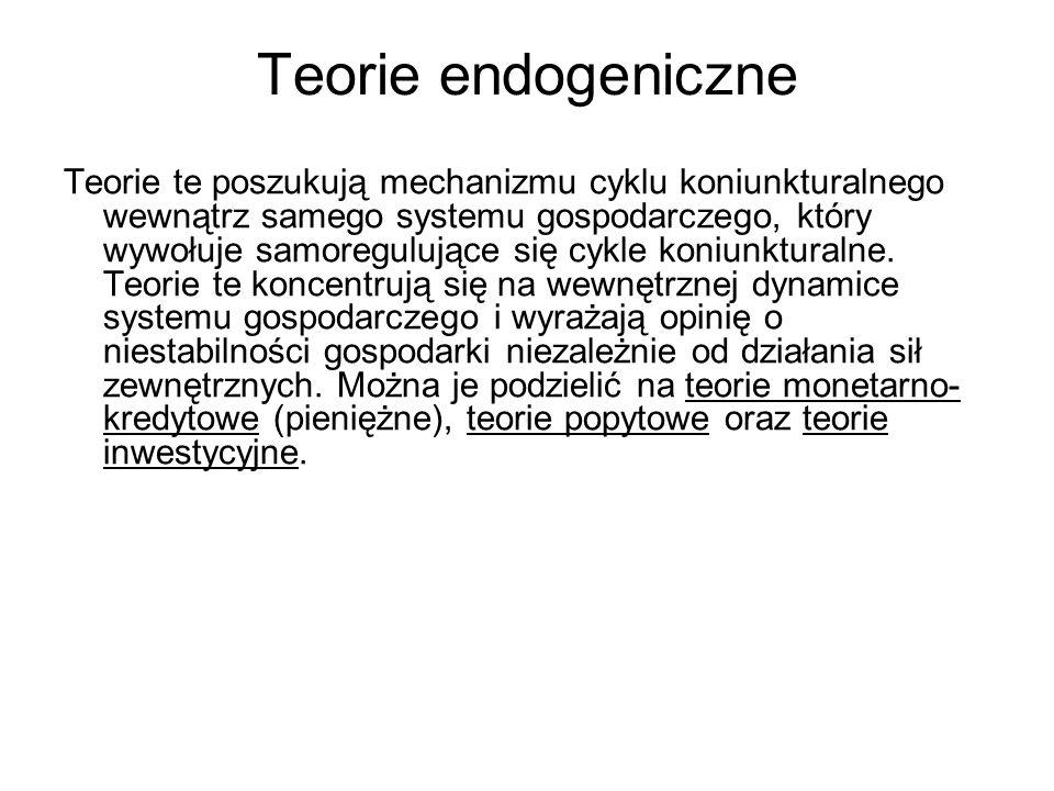 Teorie endogeniczne Teorie te poszukują mechanizmu cyklu koniunkturalnego wewnątrz samego systemu gospodarczego, który wywołuje samoregulujące się cyk