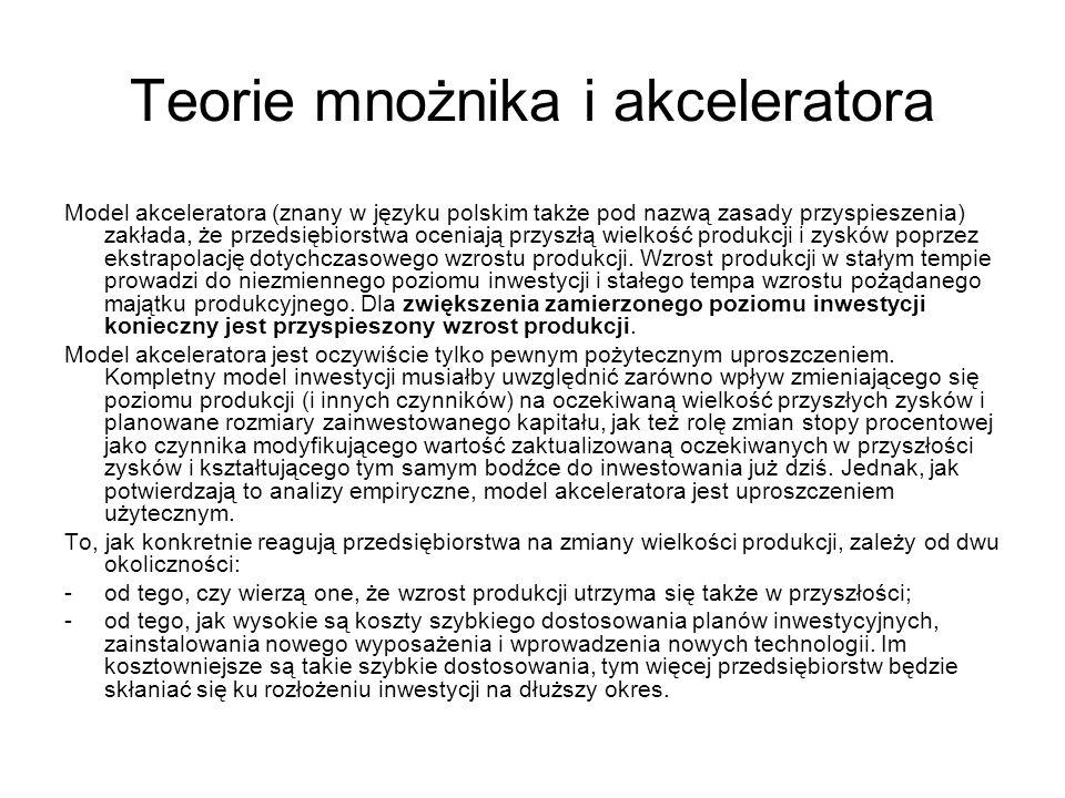 Teorie mnożnika i akceleratora Model akceleratora (znany w języku polskim także pod nazwą zasady przyspieszenia) zakłada, że przedsiębiorstwa oceniają