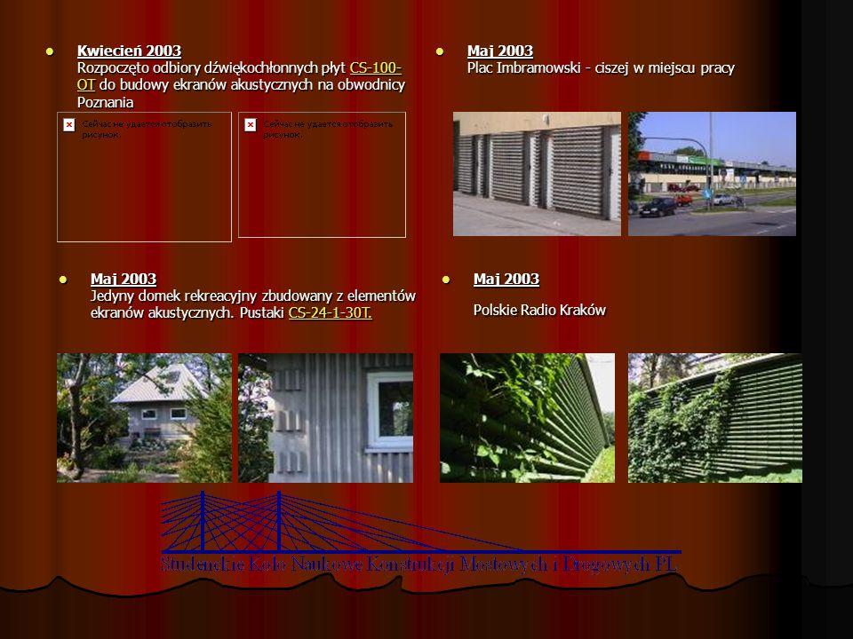 Kwiecień 2003 Rozpoczęto odbiory dźwiękochłonnych płyt CS-100- OT do budowy ekranów akustycznych na obwodnicy Poznania Kwiecień 2003 Rozpoczęto odbior