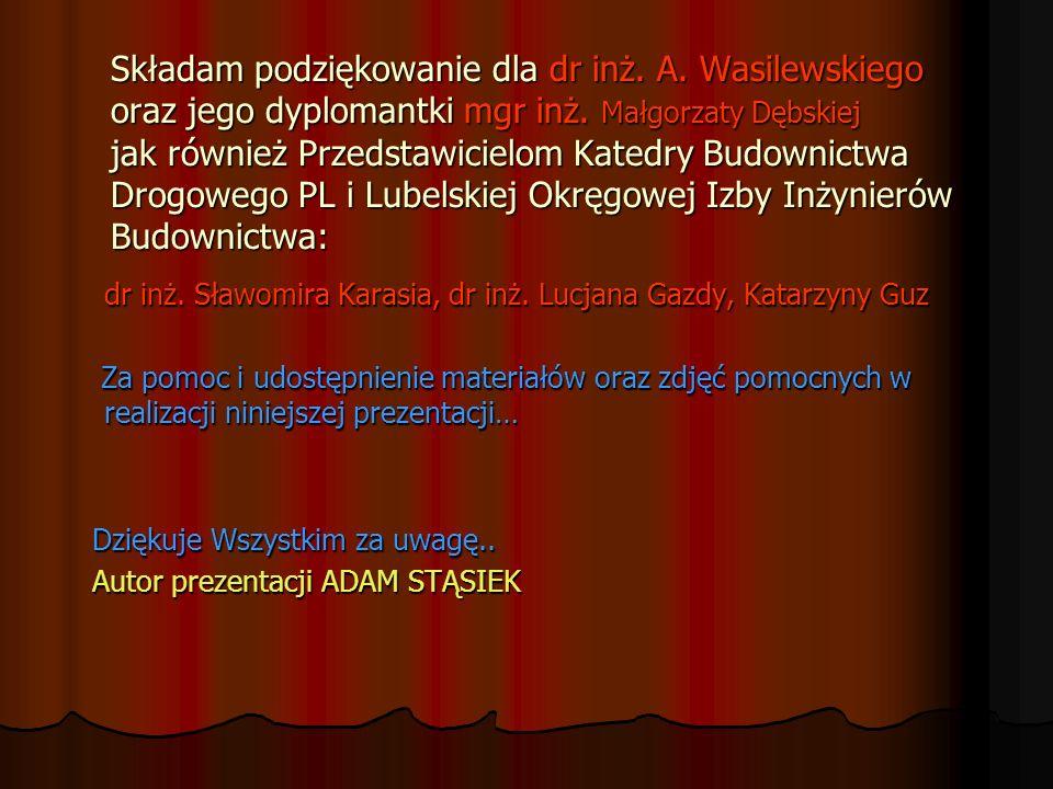 Składam podziękowanie dla dr inż. A. Wasilewskiego oraz jego dyplomantki mgr inż. Małgorzaty Dębskiej jak również Przedstawicielom Katedry Budownictwa