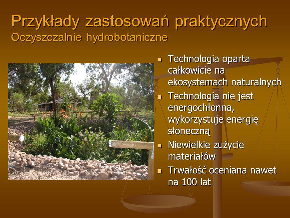 Przykłady zastosowań praktycznych Oczyszczalnie hydrobotaniczne Technologia oparta całkowicie na ekosystemach naturalnych Technologia nie jest energoc