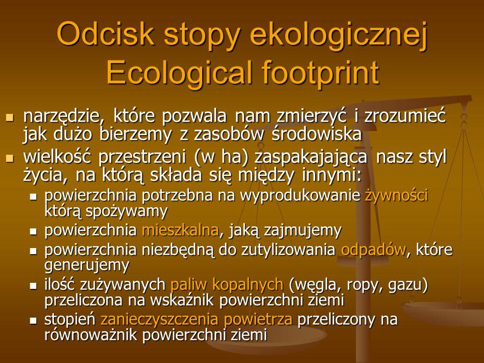 Odcisk stopy ekologicznej Ecological footprint narzędzie, które pozwala nam zmierzyć i zrozumieć jak dużo bierzemy z zasobów środowiska narzędzie, któ