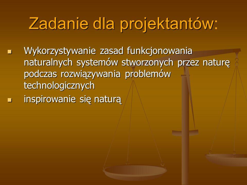 Zadanie dla projektantów Zadanie dla projektantów: Wykorzystywanie zasad funkcjonowania naturalnych systemów stworzonych przez naturę podczas rozwiązy