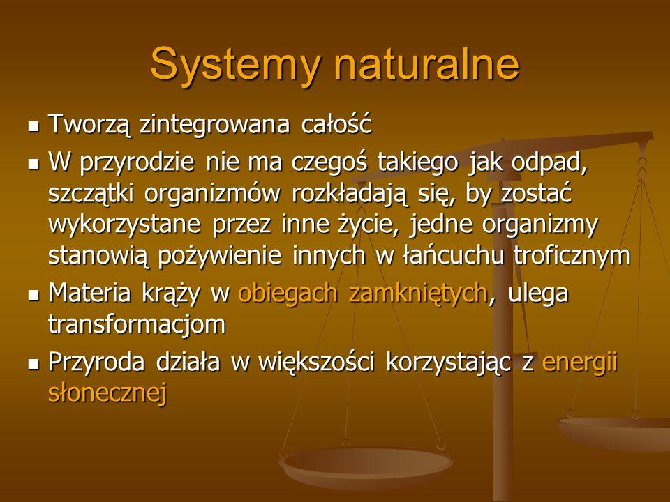 Systemy naturalne Tworzą zintegrowana całość Tworzą zintegrowana całość W przyrodzie nie ma czegoś takiego jak odpad, szczątki organizmów rozkładają s