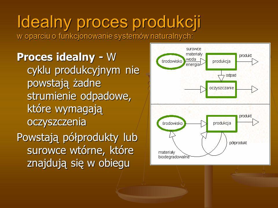 Idealny proces produkcji w oparciu o funkcjonowanie systemów naturalnych: Proces idealny - W cyklu produkcyjnym nie powstają żadne strumienie odpadowe