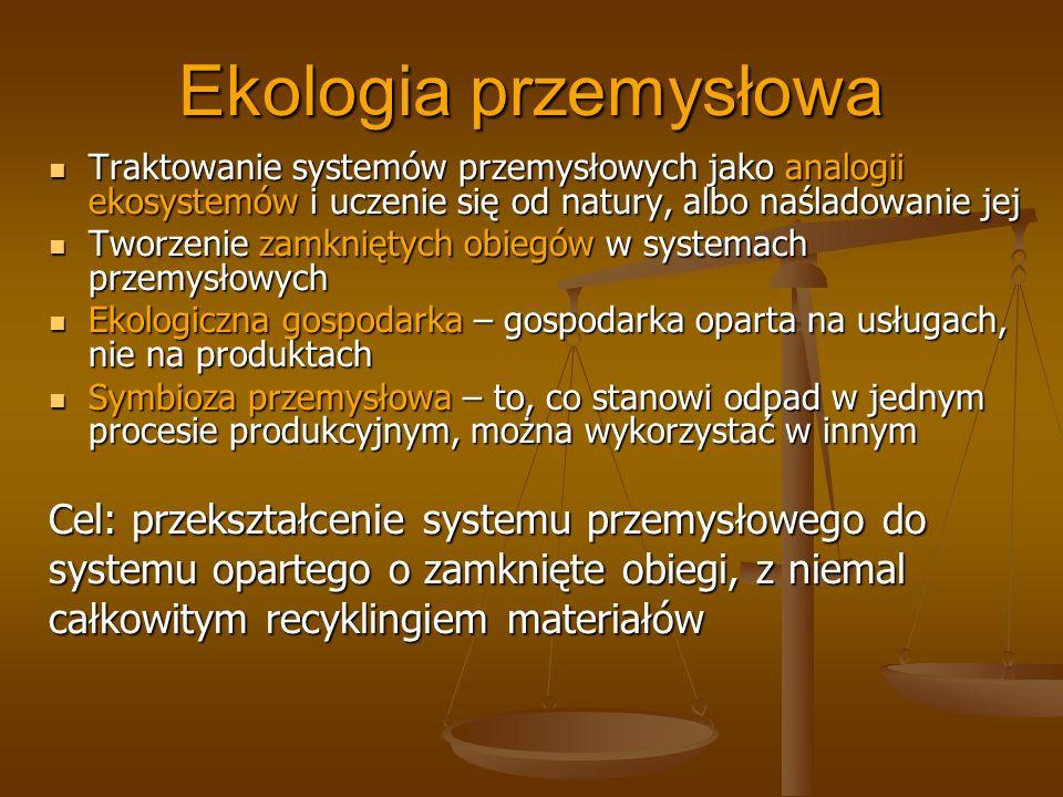 Ekologia przemysłowa Traktowanie systemów przemysłowych jako analogii ekosystemów i uczenie się od natury, albo naśladowanie jej Traktowanie systemów