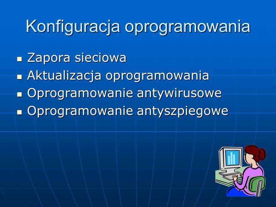Konfiguracja oprogramowania Zapora sieciowa Zapora sieciowa Aktualizacja oprogramowania Aktualizacja oprogramowania Oprogramowanie antywirusowe Oprogr