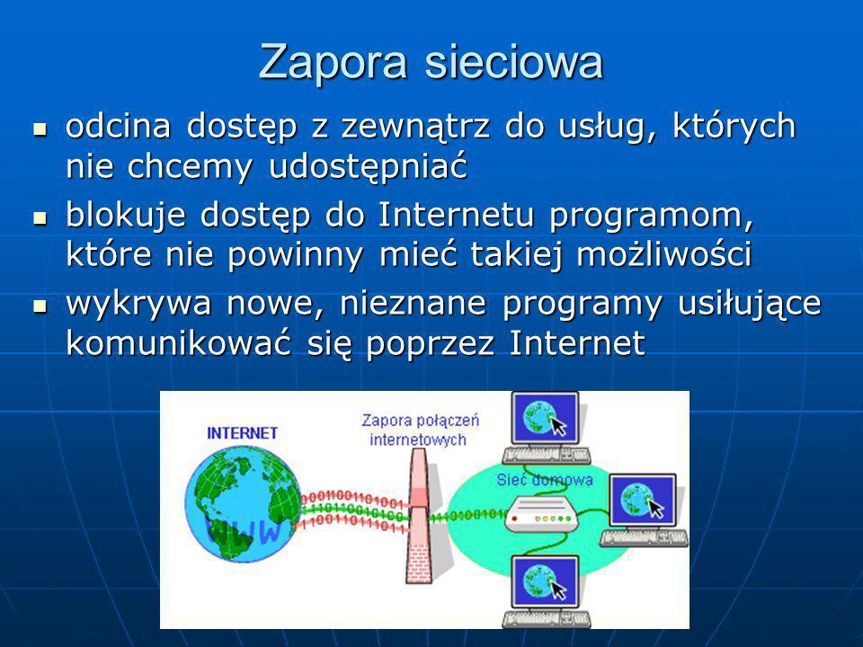 Zapora sieciowa odcina dostęp z zewnątrz do usług, których nie chcemy udostępniać odcina dostęp z zewnątrz do usług, których nie chcemy udostępniać bl