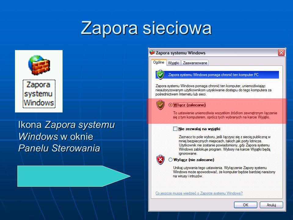 Zapora sieciowa Ikona Zapora systemu Windows w oknie Panelu Sterowania