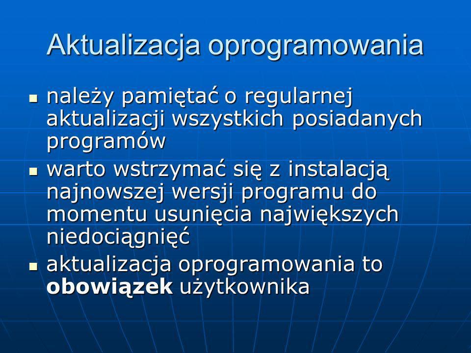 Aktualizacja oprogramowania należy pamiętać o regularnej aktualizacji wszystkich posiadanych programów należy pamiętać o regularnej aktualizacji wszys