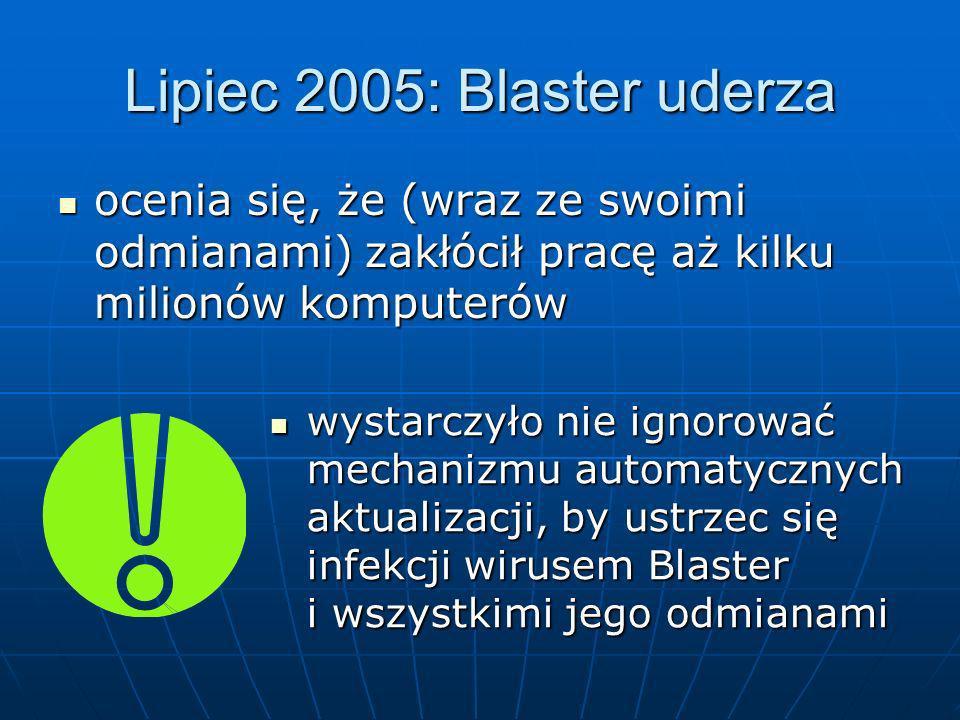 Lipiec 2005: Blaster uderza ocenia się, że (wraz ze swoimi odmianami) zakłócił pracę aż kilku milionów komputerów ocenia się, że (wraz ze swoimi odmia