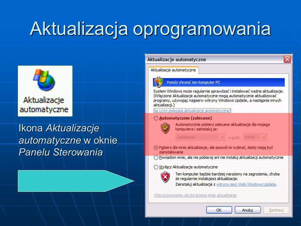 Aktualizacja oprogramowania Ikona Aktualizacje automatyczne w oknie Panelu Sterowania