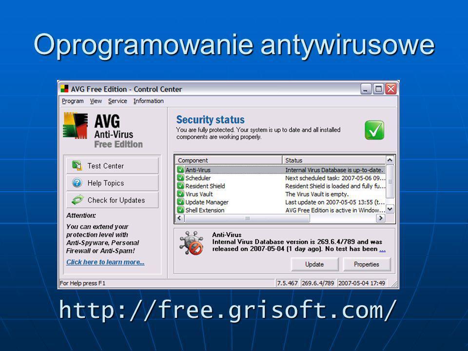Oprogramowanie antywirusowe http://free.grisoft.com/