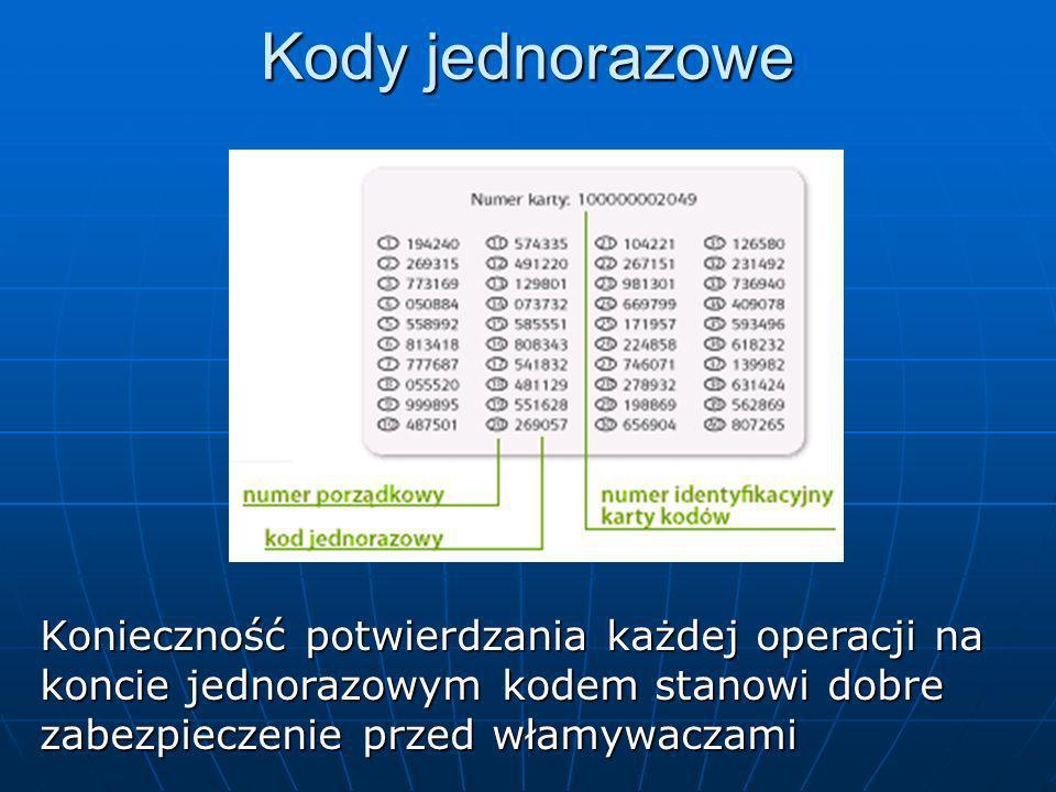 Kody jednorazowe Konieczność potwierdzania każdej operacji na koncie jednorazowym kodem stanowi dobre zabezpieczenie przed włamywaczami