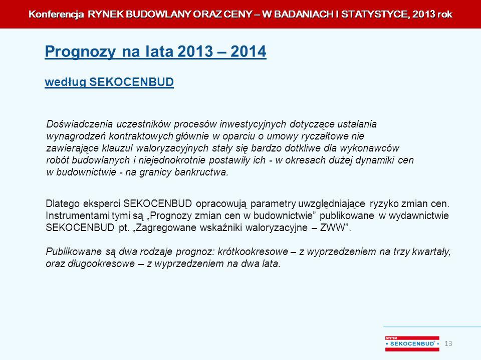 Konferencja RYNEK BUDOWLANY ORAZ CENY – W BADANIACH I STATYSTYCE, 201 3 rok 13 Doświadczenia uczestników procesów inwestycyjnych dotyczące ustalania w