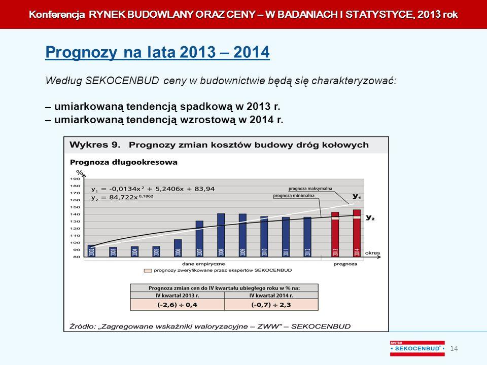 Konferencja RYNEK BUDOWLANY ORAZ CENY – W BADANIACH I STATYSTYCE, 201 3 rok 14 Prognozy na lata 2013 – 2014 Według SEKOCENBUD ceny w budownictwie będą
