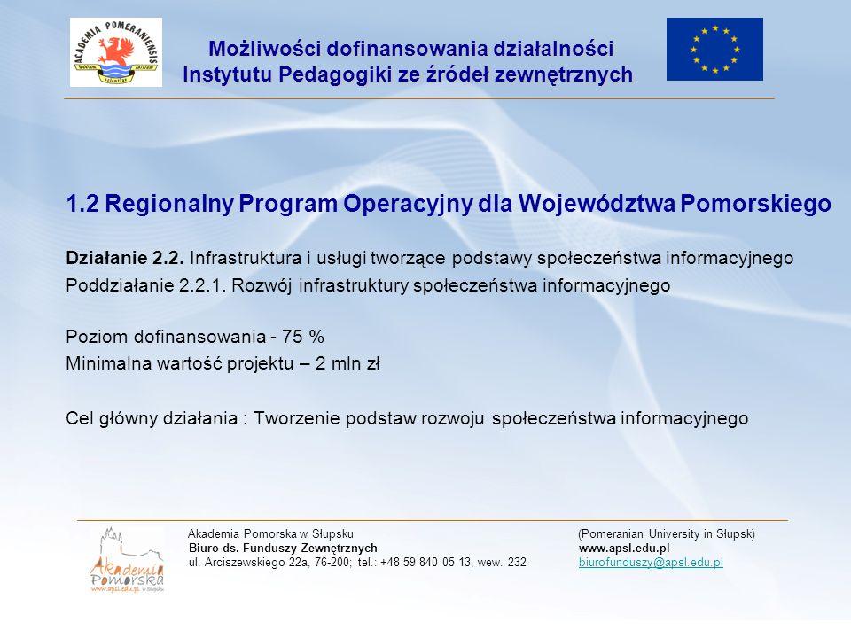 1.2 Regionalny Program Operacyjny dla Województwa Pomorskiego Działanie 2.2.