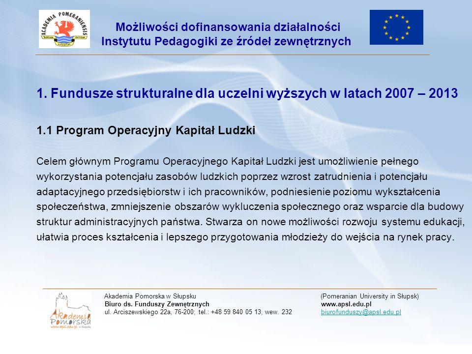 1. 1. Fundusze strukturalne dla uczelni wyższych w latach 2007 – 2013 1.1 Program Operacyjny Kapitał Ludzki Celem głównym Programu Operacyjnego Kapita