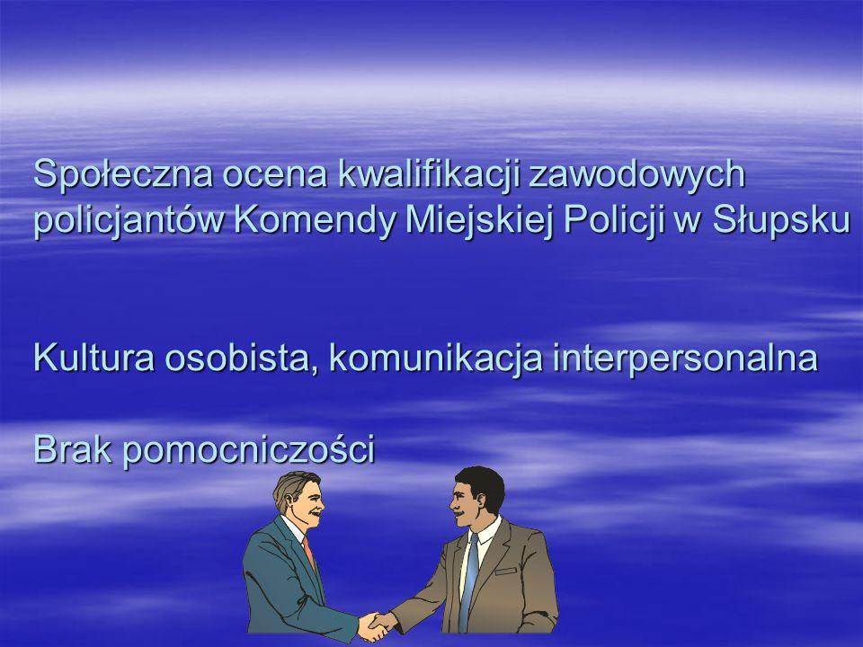 Społeczna ocena kwalifikacji zawodowych policjantów Komendy Miejskiej Policji w Słupsku Kultura osobista, komunikacja interpersonalna Brak pomocniczości