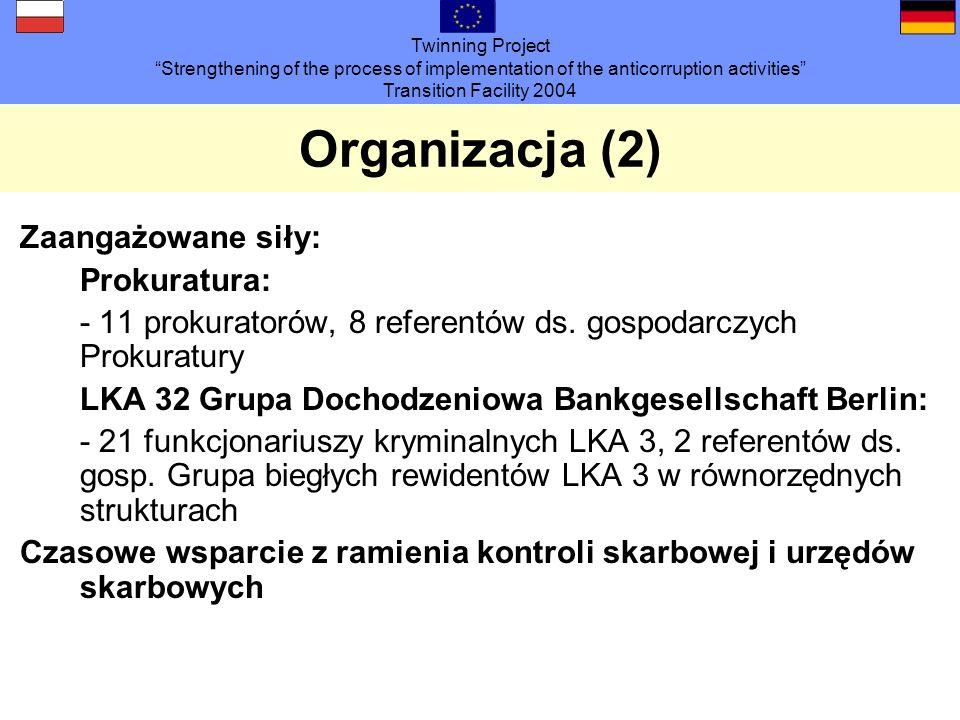 Twinning Project Strengthening of the process of implementation of the anticorruption activities Transition Facility 2004 Organizacja (2) Zaangażowane siły: Prokuratura: - 11 prokuratorów, 8 referentów ds.