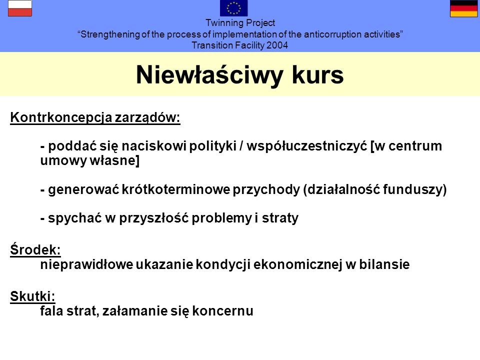 Twinning Project Strengthening of the process of implementation of the anticorruption activities Transition Facility 2004 Niewłaściwy kurs Kontrkoncep