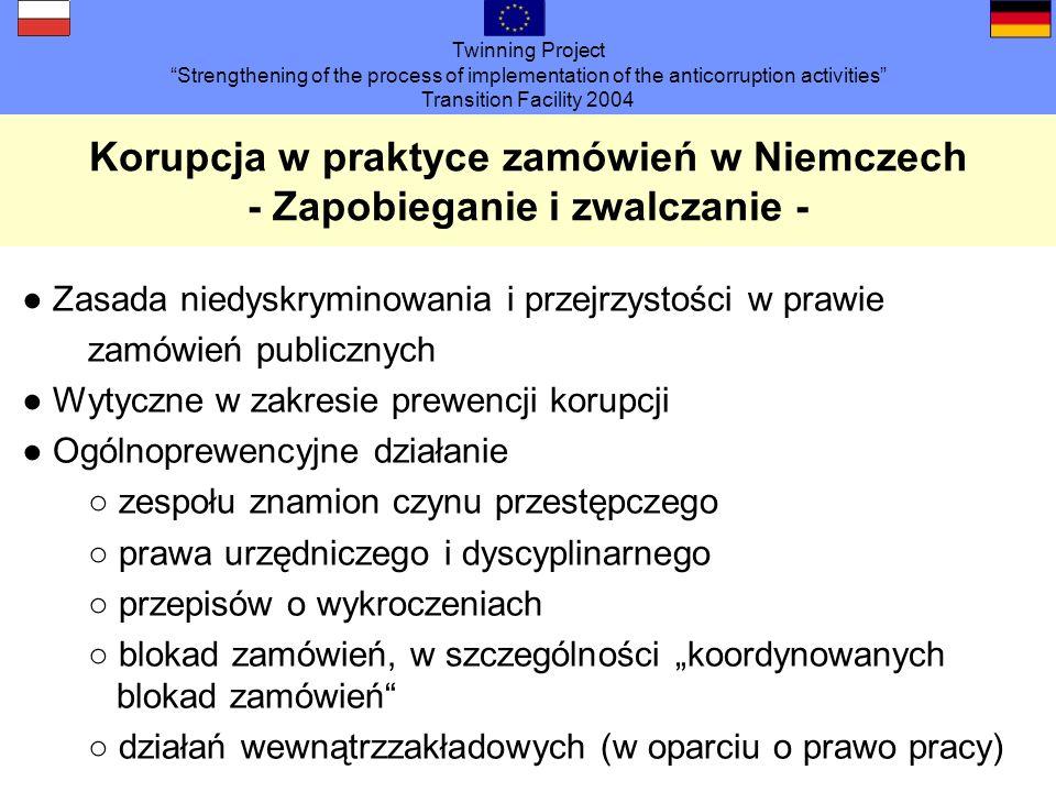 Twinning Project Strengthening of the process of implementation of the anticorruption activities Transition Facility 2004 Korupcja w praktyce zamówień