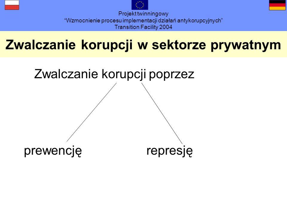 Projekt twinningowy Wzmocnienie procesu implementacji działań antykorupcyjnych Transition Facility 2004 Zwalczanie korupcji w sektorze prywatnym Zwalczanie korupcji poprzez prewencjęrepresję