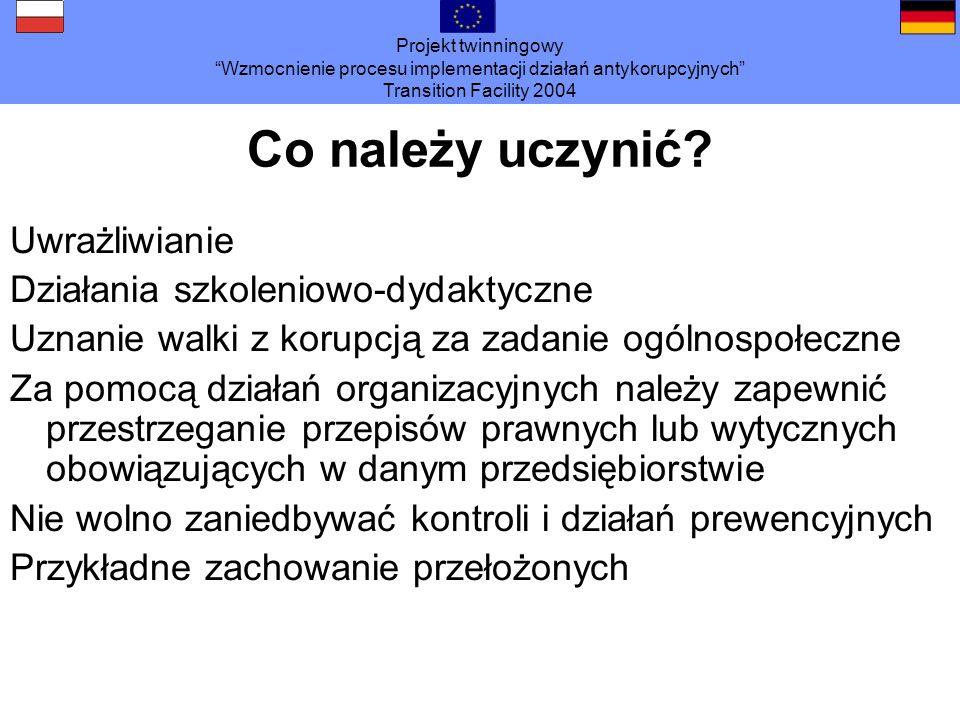 Projekt twinningowy Wzmocnienie procesu implementacji działań antykorupcyjnych Transition Facility 2004 Co należy uczynić? Uwrażliwianie Działania szk