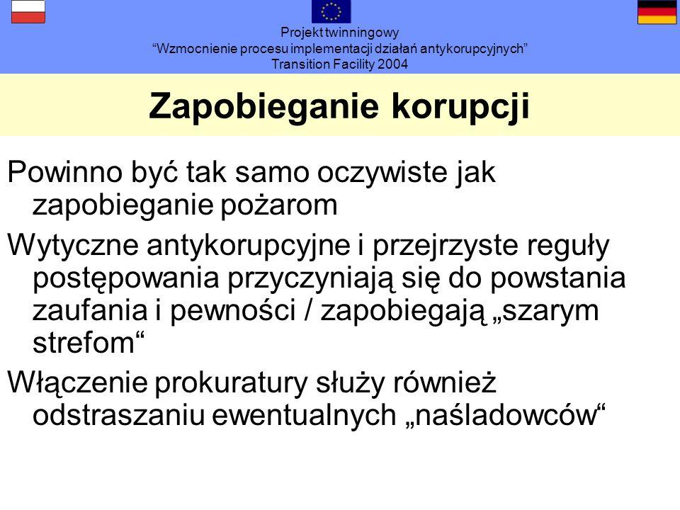 Projekt twinningowy Wzmocnienie procesu implementacji działań antykorupcyjnych Transition Facility 2004 Zapobieganie korupcji Powinno być tak samo ocz