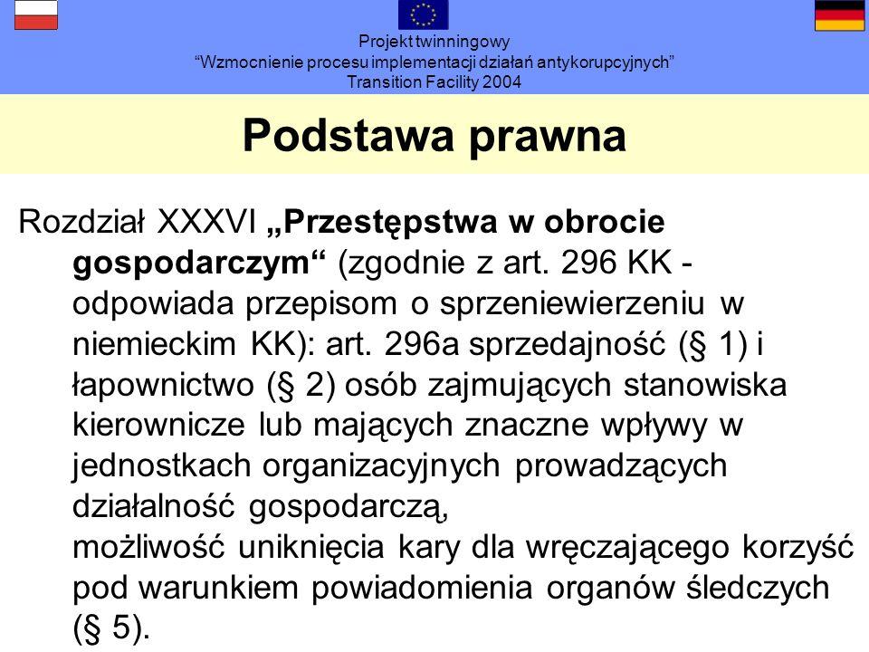 Projekt twinningowy Wzmocnienie procesu implementacji działań antykorupcyjnych Transition Facility 2004 Podstawa prawna Rozdział XXXVI Przestępstwa w obrocie gospodarczym (zgodnie z art.