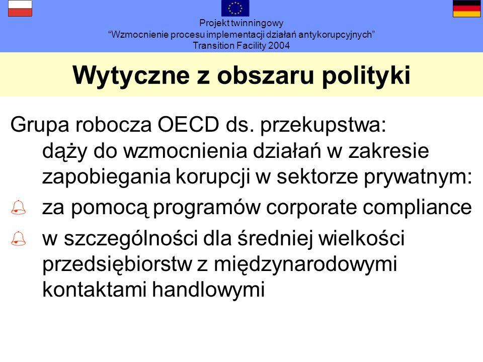 Projekt twinningowy Wzmocnienie procesu implementacji działań antykorupcyjnych Transition Facility 2004 Wytyczne z obszaru polityki Grupa robocza OECD