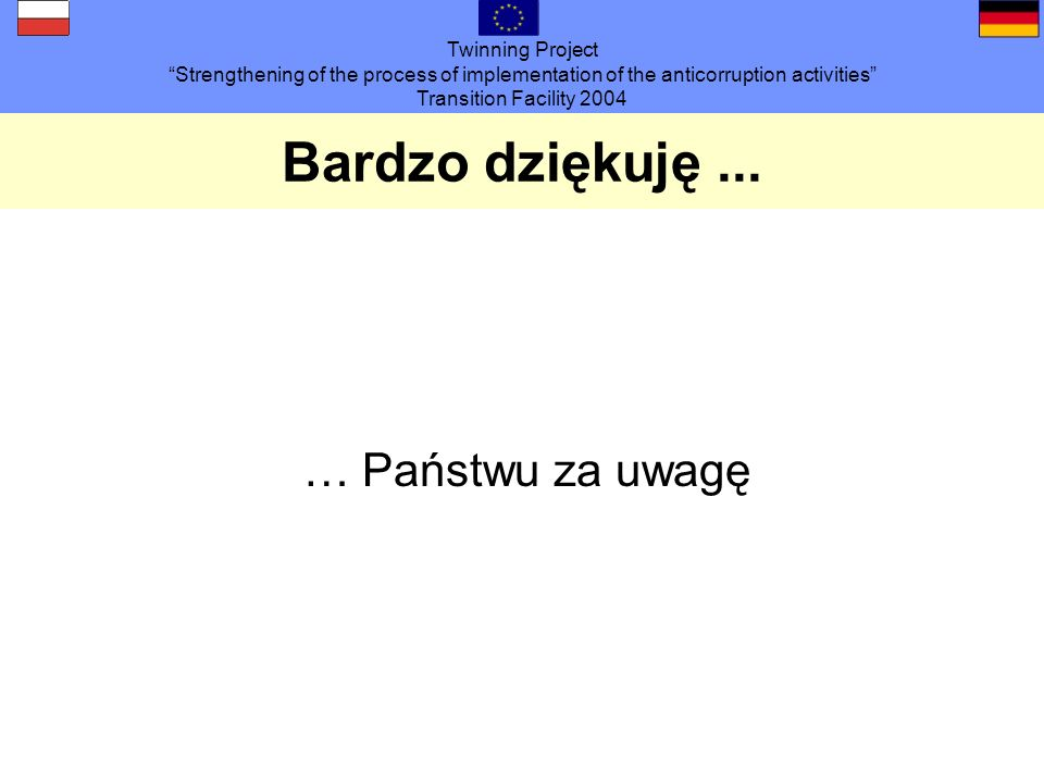 Twinning Project Strengthening of the process of implementation of the anticorruption activities Transition Facility 2004 Bardzo dziękuję...