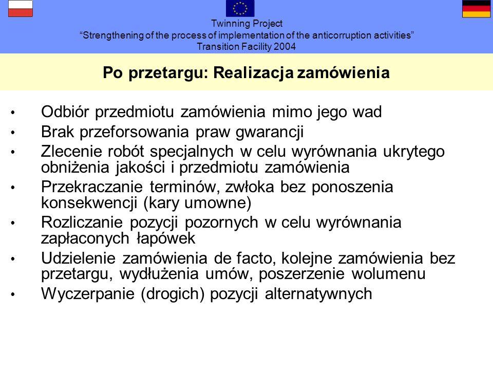 Twinning Project Strengthening of the process of implementation of the anticorruption activities Transition Facility 2004 Po przetargu: Realizacja zam