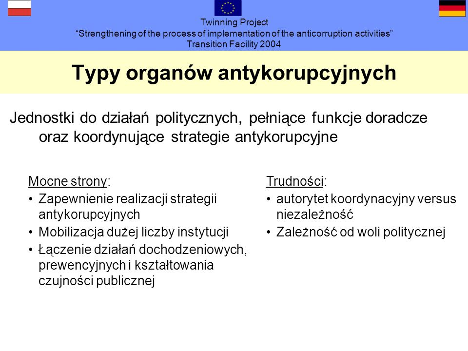 Twinning Project Strengthening of the process of implementation of the anticorruption activities Transition Facility 2004 Typy organów antykorupcyjnyc