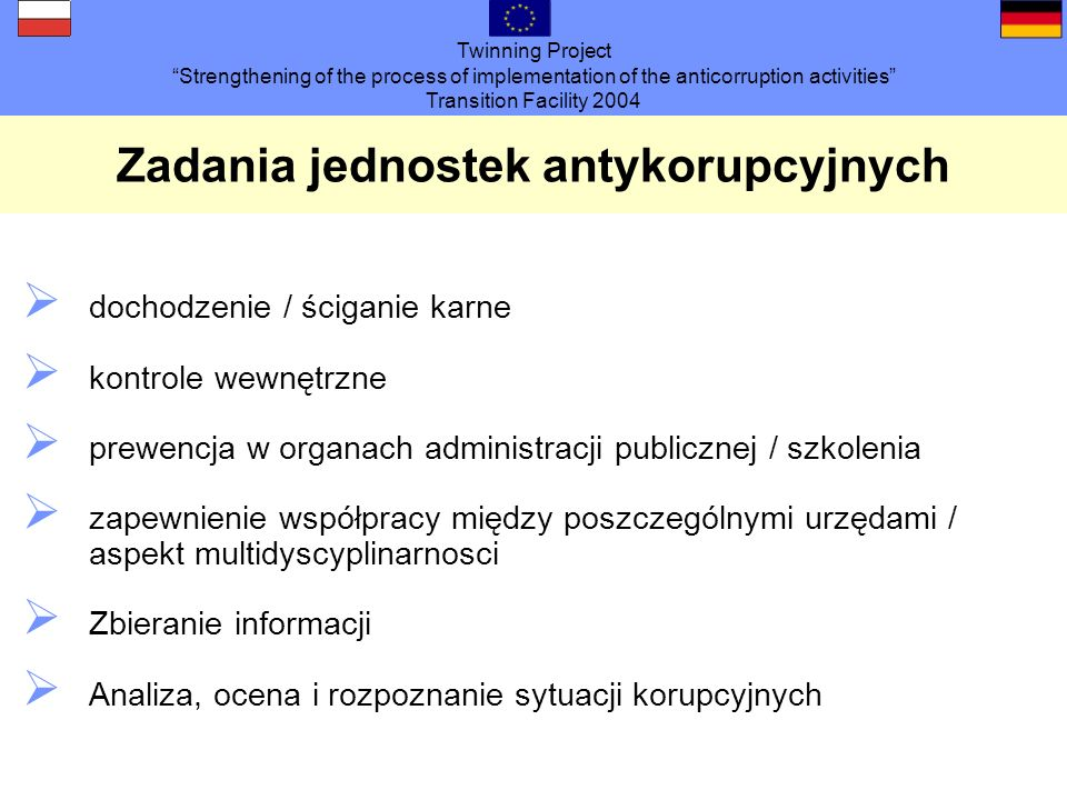 Twinning Project Strengthening of the process of implementation of the anticorruption activities Transition Facility 2004 Zadania jednostek antykorupc