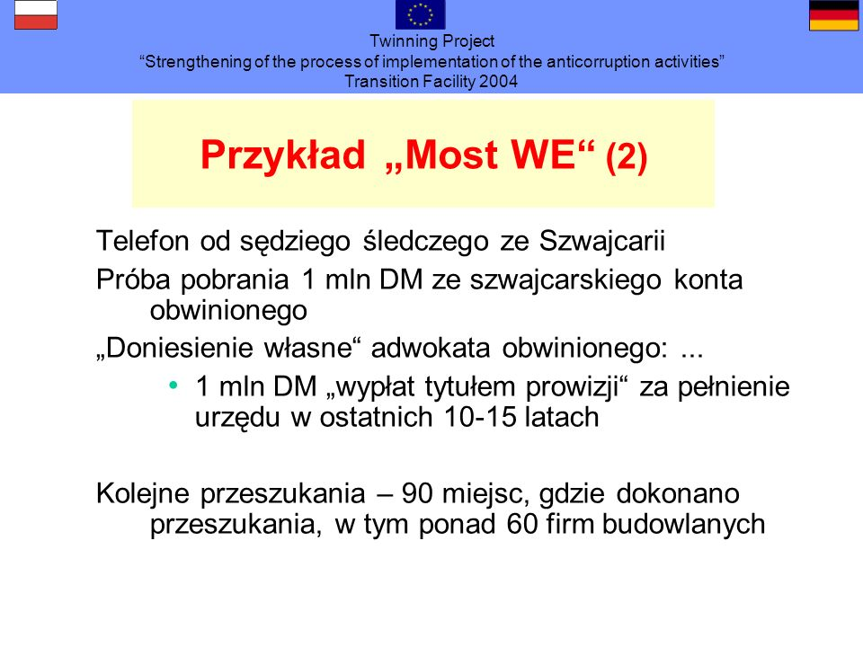 Twinning Project Strengthening of the process of implementation of the anticorruption activities Transition Facility 2004 PrzykładMost WE (2) Telefon