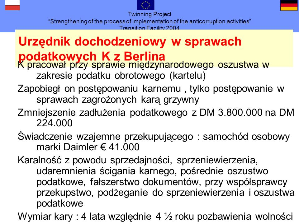 Twinning Project Strengthening of the process of implementation of the anticorruption activities Transition Facility 2004 Urzędnik dochodzeniowy w spr