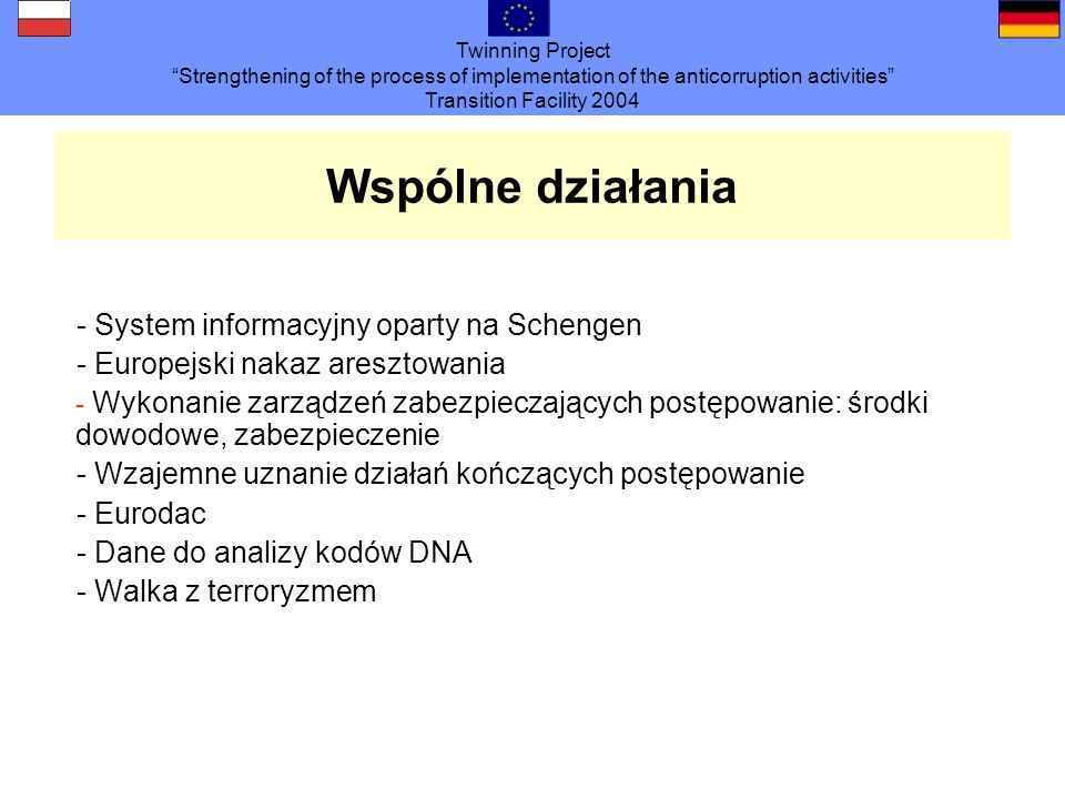 Twinning Project Strengthening of the process of implementation of the anticorruption activities Transition Facility 2004 Wspólne działania - System i