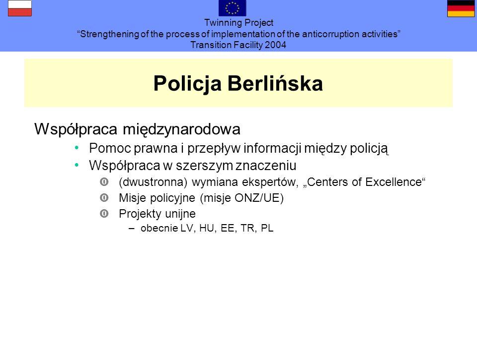 Twinning Project Strengthening of the process of implementation of the anticorruption activities Transition Facility 2004 Policja Berlińska Współpraca międzynarodowa Pomoc prawna i przepływ informacji między policją Współpraca w szerszym znaczeniu ‹(dwustronna) wymiana ekspertów, Centers of Excellence ‹Misje policyjne (misje ONZ/UE) ‹Projekty unijne –obecnie LV, HU, EE, TR, PL